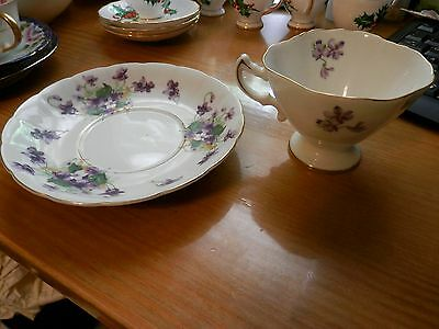 Rossetti Spring Violets Fine China Footed Cup & Saucer Occupied Japan