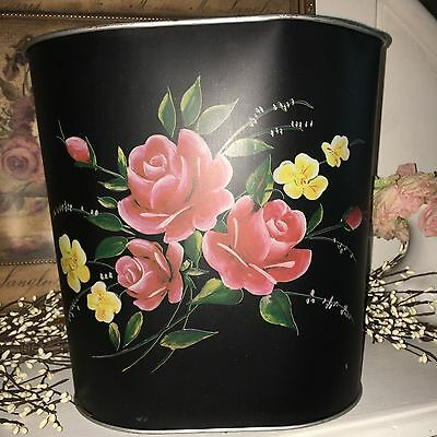 Antique Vintage Tole-Ware Hand Painted Flowers Tole Trash Can Waste Basket