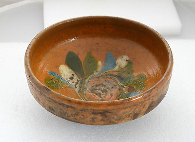 ANTIQUE 19`c Ottoman Empire HandMade REDWARE Glazed Pottery Ceramic Dish Bowl 33