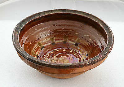 ANTIQUE 19`c Ottoman Hand Made REDWARE Glazed Pottery Ceramic Large Soup Bowl 35