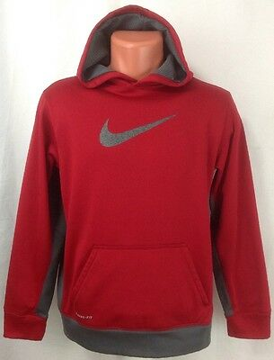 Nike Therma-Fit Red/Gray Boy's Pullover Hooded Sweatshirt Hoodie Youth XL ~ EUC