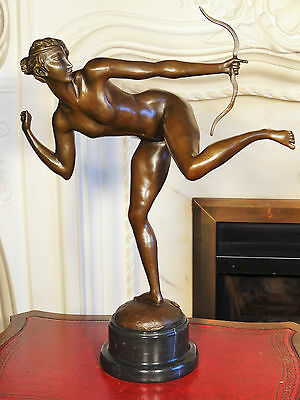 Bronze Sculpture Statue Diana the Huntress Naked Girl with Bow Figurine Interior