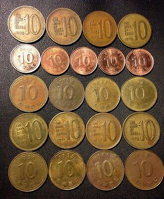 Old South Korea Coin Lot - 10 WON - Mixed Date/Variety - Lot #D7
