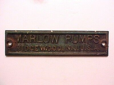 OLD Cast Iron Architectural Factory Sign Marlow Pumps Ridgewood, N,J,