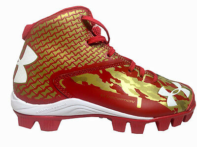 Under Armour Deception Baseball Cleats Youth Size 5.5 Red/Gold - NEW