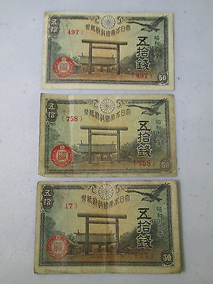 (3) Old Japanese Paper Money Banknotes Currency 50 (Sen) Notes CIRCULATED 1940s