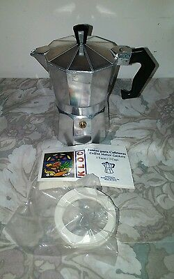 Moka Express 3-Cup 3 Cups Stovetop Percolator - Silver/ Package New Gaskets (3)