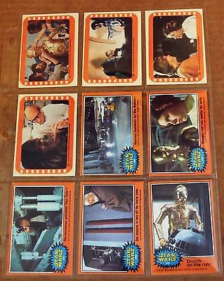 1977 Complete Orange Series Star Wars Cards #265-320 + 4 Stickers EXCL