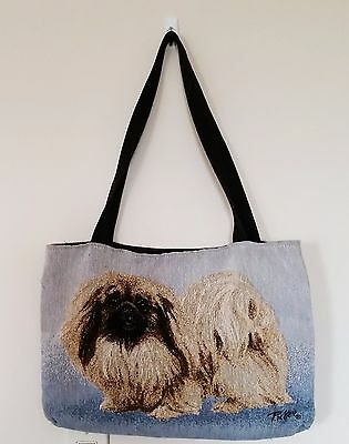 Pekingese Dog Tapestry Tote Bag by Linda Pickens Fully Lined Made in USA