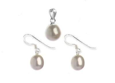Lucidity White Freshwater Pearl and Sterling Silver Pendant and Earrings RRP$69