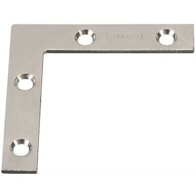 Stanley Hardware 2-Inch Flat Corner Brace, Zinc Plated, 4-Pack #756631