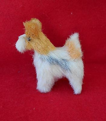 Vintage Small Faux Fur Wire Fox Terrier Dog Figurine from Germany