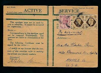 PALESTINE WW2 1941 OAS ENVELOPE GB 2s 6d to NORFOLK USA