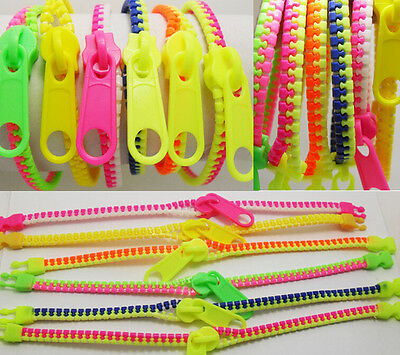 Job Lot 6pcs Zipper Charm Bracelet/Bangle Zipper Fluorescent Neon Creative Gifts
