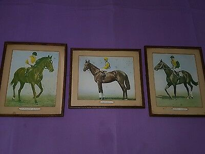 X 3 Vintage Horse Racing Pictures Shadow King, Hall Mark & Marabou - $45.00 each