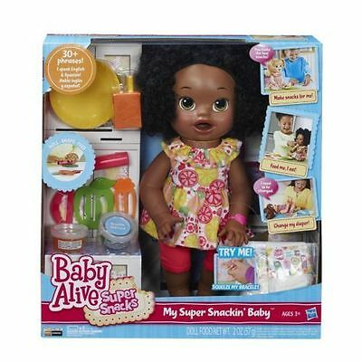 Baby Alive  Super Snacks Snackin Sara African American Doll with 10 accessories