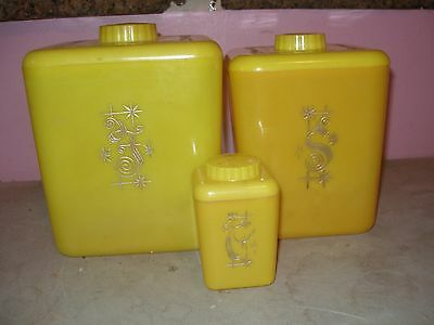 Vintage Yellow Plastic Kitchen Canisters