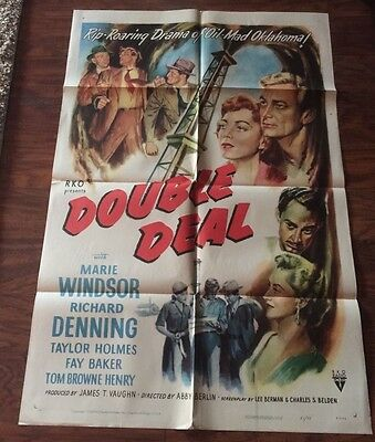 Vintage 1951 Original DOUBLE DEAL RKO Movie One Sheet       51/70  RARE