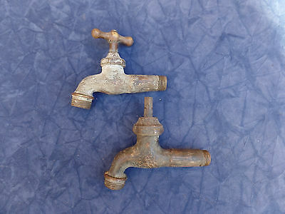 "Antique Garden Faucet 1/2 "" Brass Set Of 2 Different Art Re-Use Re-Purpose"