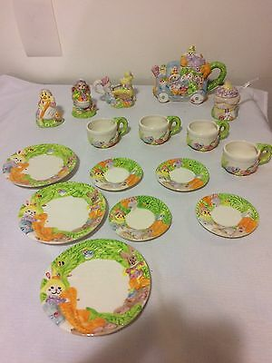 Vintage 1995 Easter Bunny Carrot Garden Top Farms Tea Set