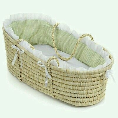 Baby Nursery Natural Moses Basket Carrier with Sage Gingham Bedding