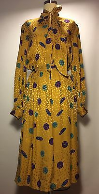 Vintage Dress Yellow Exclusive Size 8 Silk Long Sleeves Flowers 70's