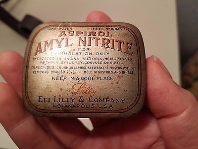 Antique Eli Lilly Aspirol Amyl Nitrate Pill Tin Container Very Rare