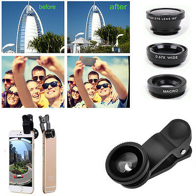 3 in1 Fish Eye+Wide Angle+Macro Camera Clip-on Lens for iPhone 6S 6 Samsung HTC