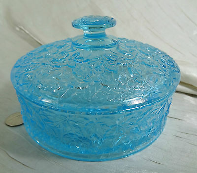 Maple Leaf Pattern Chocolate Box Colonial Blue Glass Plum Glass Candy Dish
