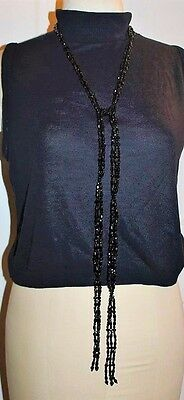 Antique Victorian Mourning Black Acrylic Lariat Flapper Couture Necklace NP1
