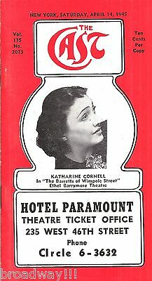 """Katharine Cornell """"THE BARRETTS OF WIMPOLE STREET"""" 1945 """"CAST"""" Theatre Guide"""