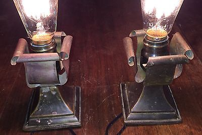 Beautiful Patina Arts & Crafts Vintage Beam Lights Set Wired Pair