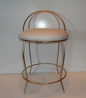 Art Deco Gold Hollywood Regency Vanity Cream Colored Vinyl Seat Small Chair
