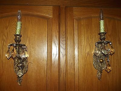 pure golden brass crystal pair wall sconces 1 light each