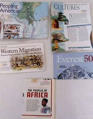 National Geographic maps Lot of 5 everest africa cultures migration posters