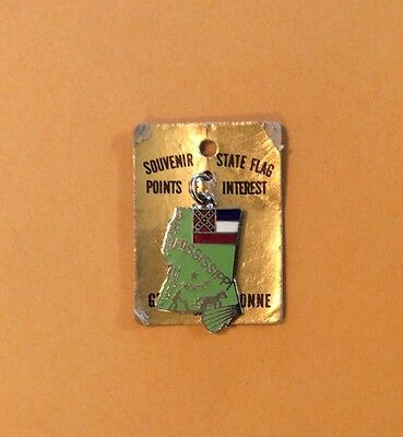 Mississippi State Flag Souvenir Charm Pendant Map Enamel with Display Card