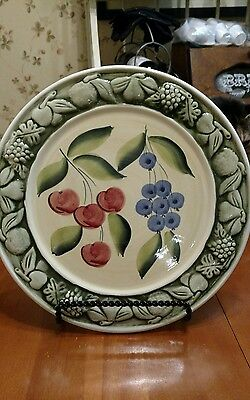 """Pizzato 11"""" embossed with fruit dinner plate made in italy"""