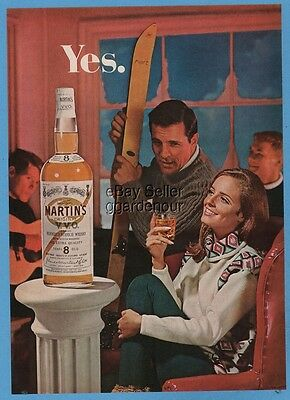 1967 Snow skiing lodge Hart skis James Martin's VVO Blended Scotch Whisky ad