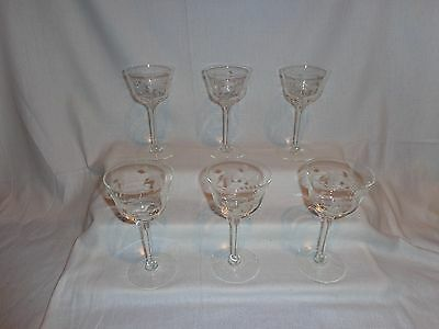 Vintage Glass Etched Glass Twining Vines Martini Cocktail Glasses (6)