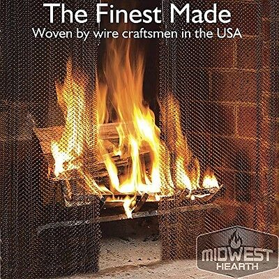"""Midwest Hearth Fireplace Screen Mesh Curtain. 2 Panels Each 24"""" Wide. Includes"""