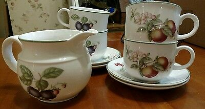 Made in England Porcelain- tea/coffee cups & saucers &creamer fruit themed