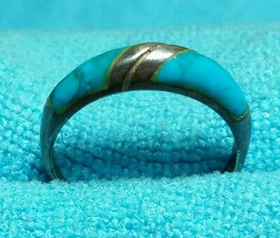 Vintage 925 Sterling Silver Original Turquoise Ring Size 6.5