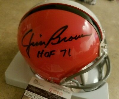 Jim Brown Cleveland Browns Autograph Signed Mini Helmet JSA HOF Inscr. Auto