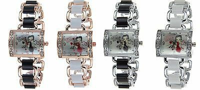 BETTY BOOP Authentic Rectangle Face Fashion Bangle Bracelet Watch