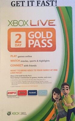 Microsoft Xbox 360 One ✔ 2 Day Live Gold Pass 48 Hour Trial Dlc Card ✔ Download