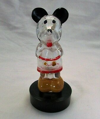 Rare Vintage Glass Perfume Scent Bottle Mickey Mouse Figurine Disney