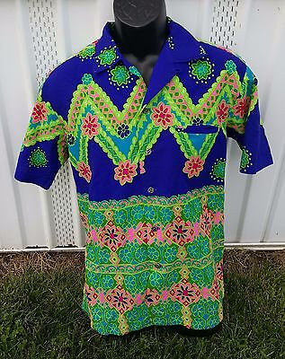 Men's Kamehameha 60's Hawaiian Shirt Vintage M Psychodelic Purple & Green Floral