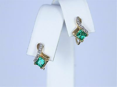 $1000 Solid Yellow Gold 14K White Round Diamond Emerald Earrings Screw Back