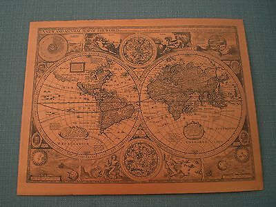 Vintage Copper Framed Wall Map Of The World.