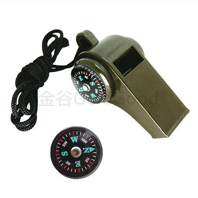 Water Resistant 3-in-1 Ultraloud Multi-functional Whistle w Compass Thermometer